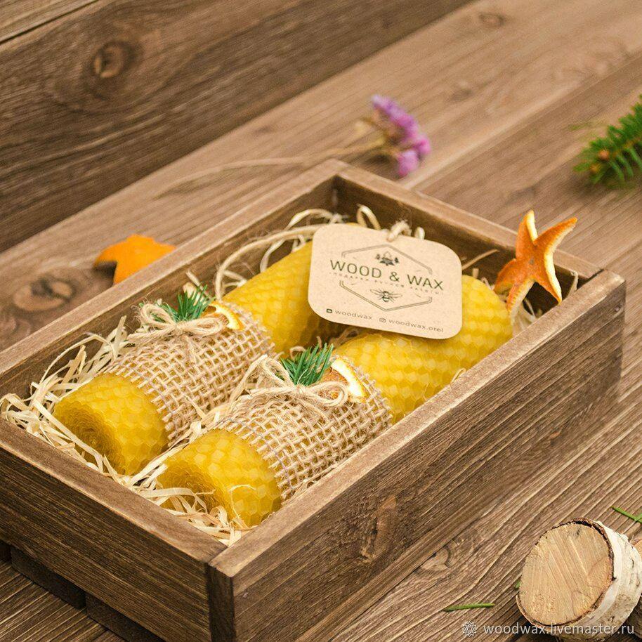 Новогодний набор свечей в деревянном ящике, Свечи, Орел,  Фото №1