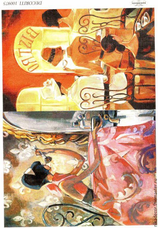 Декупаж и роспись ручной работы. Ярмарка Мастеров - ручная работа. Купить Милые француженки (D100975) - рисовая бумага, А4. Handmade.
