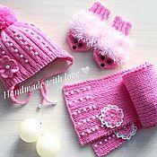 Аксессуары ручной работы. Ярмарка Мастеров - ручная работа Шапка, варежки-ёжики и шарф для девочки. Handmade.