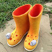 """Обувь ручной работы. Ярмарка Мастеров - ручная работа Валенки детские на подошве """"Сыр с мышкой"""". Handmade."""