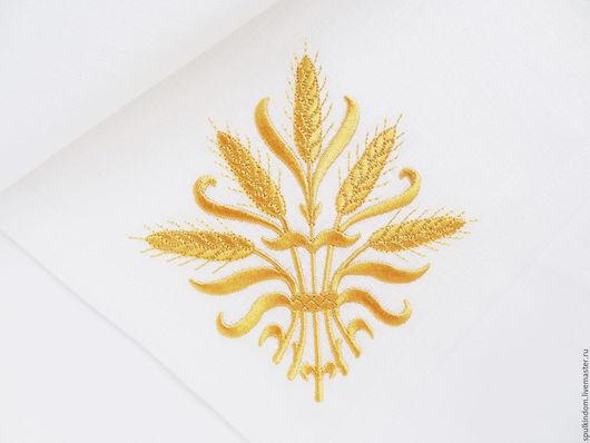 Салфетка с вышивкой `Пшеничные колосья` `Шпулькин дом` мастерская вышивки