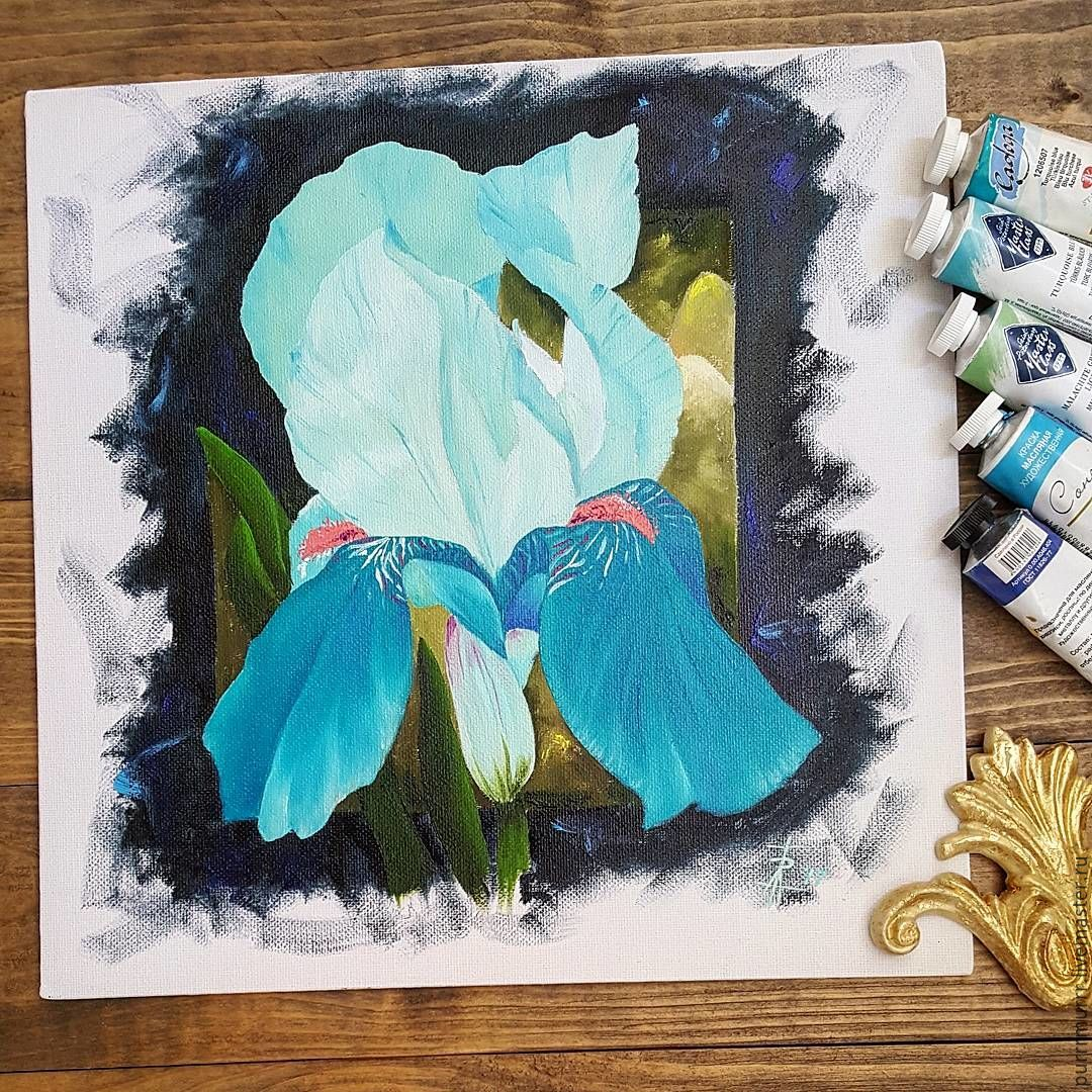The turquoise iris shop online on livemaster with shipping flower paintings handmade livemaster handmade buy the turquoise iris flowers izmirmasajfo