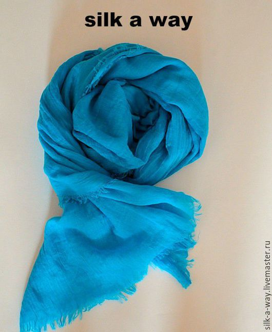 Шали, палантины ручной работы. Ярмарка Мастеров - ручная работа. Купить Палантин однотонный. Голубой-Бирюзовый  шарф.. Handmade. Бирюзовый