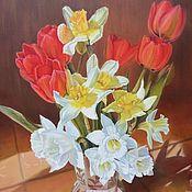 """Картины и панно ручной работы. Ярмарка Мастеров - ручная работа Картина маслом цветы тюльпаны """" Весенний"""". Handmade."""