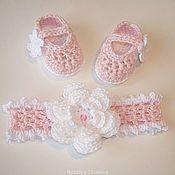 Работы для детей, handmade. Livemaster - original item Booties shoes and headband with flower.. Handmade.