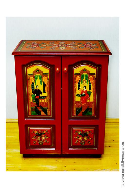 Мебель ручной работы. Ярмарка Мастеров - ручная работа. Купить шкаф с городецкой сюжетной росписью. Handmade. Разноцветный, шкаф