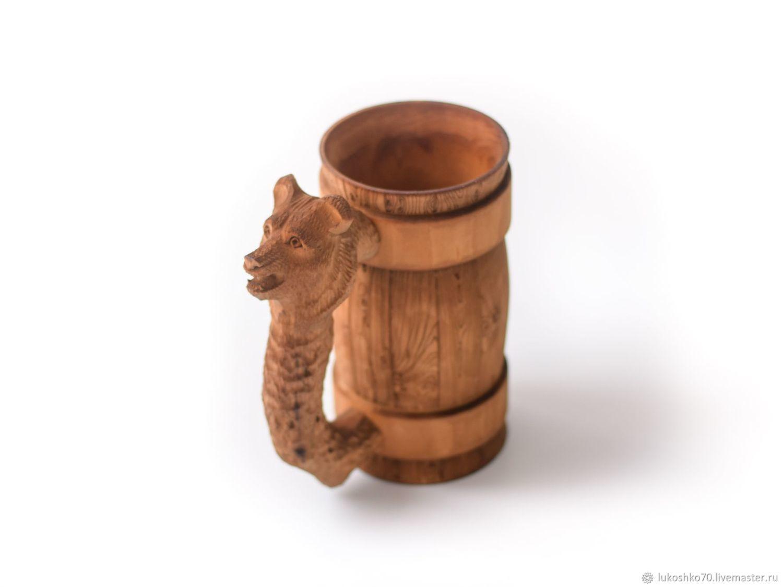 Wooden mug ' Bear'. Beer mug 0.7 l, Mugs and cups, Tomsk,  Фото №1