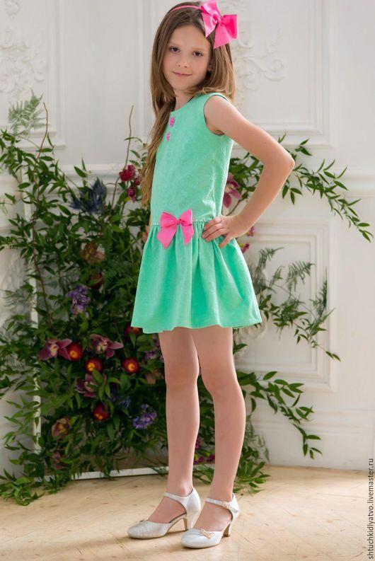 Одежда для девочек, ручной работы. Ярмарка Мастеров - ручная работа. Купить Мятное жаккардовое платье с комплектом аксессуаров. Handmade. Разноцветный