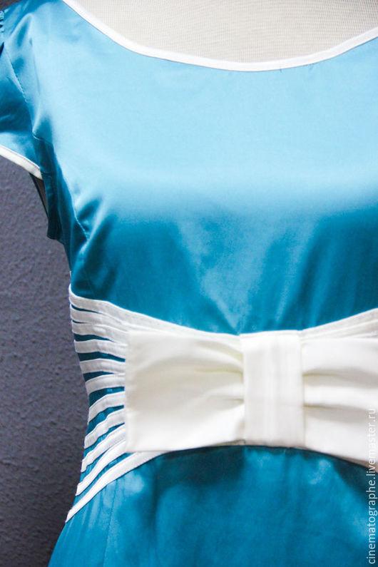 Одежда. Ярмарка Мастеров - ручная работа. Купить Платье ретро новое NOS. Handmade. Бирюзовый, бант, хлопок