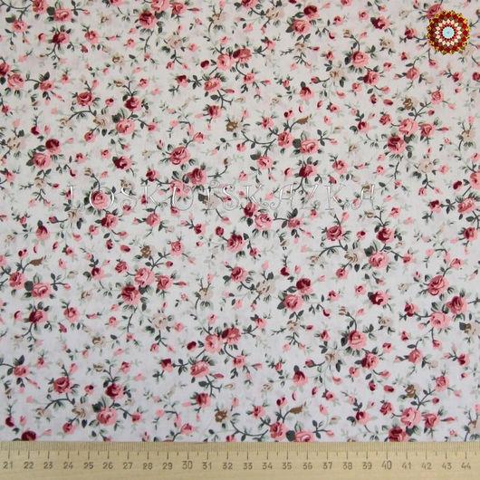 Ткань для пэчворка `Роза мини на белом`. ZT-00076. Хлопок 100%. ZT-00076