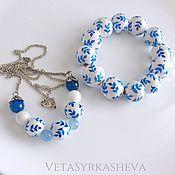 Украшения handmade. Livemaster - original item Set pendant bracelet painted beads with blue twigs. Handmade.