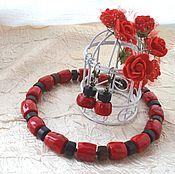 """Украшения ручной работы. Ярмарка Мастеров - ручная работа Комплект """"Honduran Milk Snake"""" с кораллом и агатом. Handmade."""