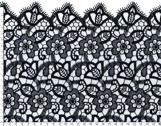 Аппликации, вставки, отделка ручной работы. Ярмарка Мастеров - ручная работа. Купить Гипюр макраме 4055 черный. Handmade. Кружево