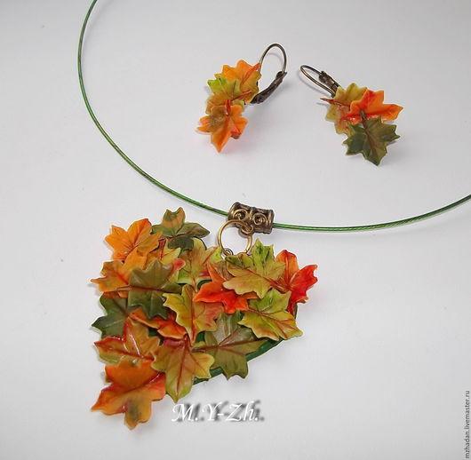 Колье, Колье из полимерной глины,Осень,осенние листья,колье,серьги ручной работы из полимерной глины