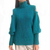 Одежда handmade. Livemaster - original item Women`s Hummingbird sweater, p. 46-48-50 (M-L) half-length open shoulders. Handmade.