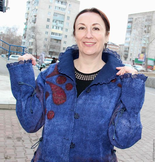 Пиджаки, жакеты ручной работы. Ярмарка Мастеров - ручная работа. Купить Синий валяный жакет.. Handmade. Тёмно-синий
