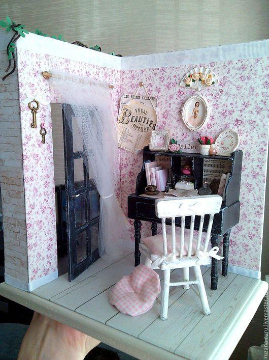 """Кукольный дом ручной работы. Ярмарка Мастеров - ручная работа. Купить Румбокс """"Летний балкончик"""". Handmade. Розовый, миниатюра"""