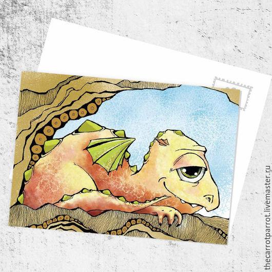 Открытки на все случаи жизни ручной работы. Ярмарка Мастеров - ручная работа. Купить Почтовая открытка «Довольный Дракон». Handmade. Оранжевый
