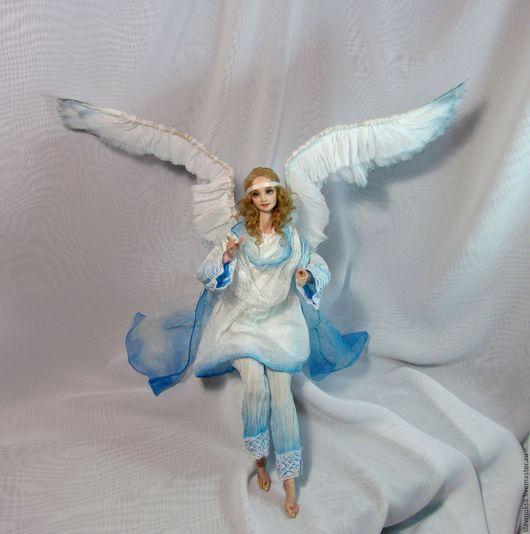 Коллекционные куклы ручной работы. Ярмарка Мастеров - ручная работа. Купить АНГЕЛ каркасная кукла. Handmade. Голубой, ангел-хранитель
