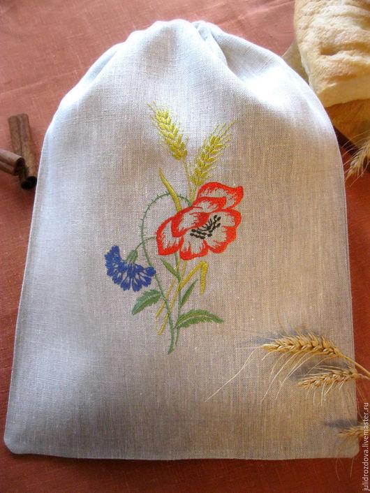 """Кухня ручной работы. Ярмарка Мастеров - ручная работа. Купить Мешочек для хлеба """"Мамин хлеб"""". Handmade. Серый, хлебница, Традиции"""