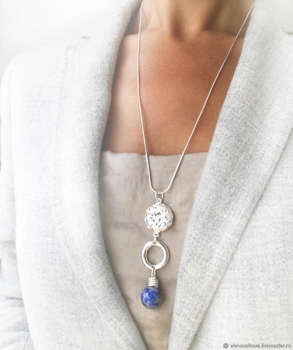 Blue sodalite pendant on a chain - light pendant with stone, Necklace, Yaroslavl,  Фото №1