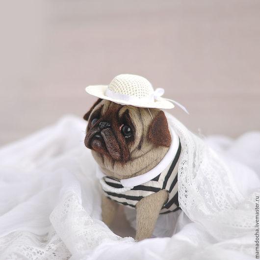 Игрушки животные, ручной работы. Ярмарка Мастеров - ручная работа. Купить Дама в шляпке. Handmade. Белый, Мопсы, белая шляпа