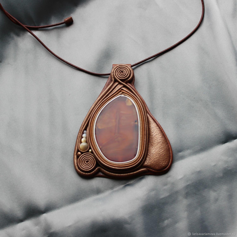 Pendant with carnelian. The decoration of leather and stone, Pendants, Velikiy Novgorod,  Фото №1