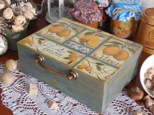 """Кухня ручной работы. Ярмарка Мастеров - ручная работа. Купить """"Лимонная симфония"""" короб. Handmade. Комбинированный, короб для кухни"""