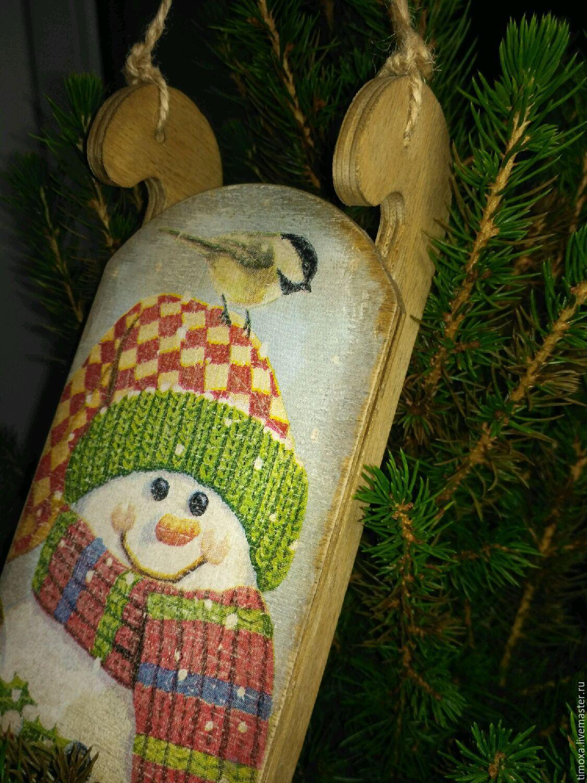 снеговик, санки, саночки, новый год, подарки ручной работы,новогодний интерьер