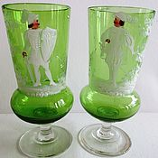 Винтаж handmade. Livemaster - original item 19th century RARE BOHEMIAN COLOURED GLASS wine GLASSES MARY GREGORY. Handmade.