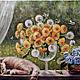 Натюрморт ручной работы. Ярмарка Мастеров - ручная работа. Купить Одуванчиковый день. Handmade. Кот, весна, картина, разноцветный, фиалки