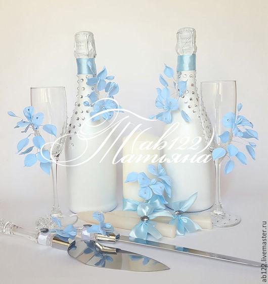 Свадебные аксессуары ручной работы. Ярмарка Мастеров - ручная работа. Купить Нежнейший голубой комплект аксессуаров. Handmade. Голубой