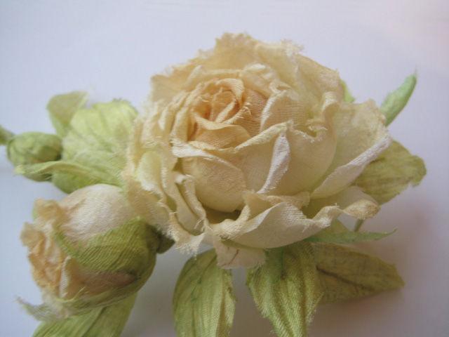 Silk Flowers Brooch Pin Rose Carenu Indian Silk Dupion Shop