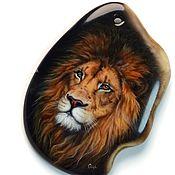 Украшения handmade. Livemaster - original item Lion – large pendant with lacquer painting to create jewelry. Handmade.