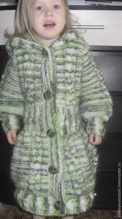 Зеленое пальто с косами и огромными пуговками Перламутровые пуговицы Пальто с капюшоном для девочки Зеленое пальто