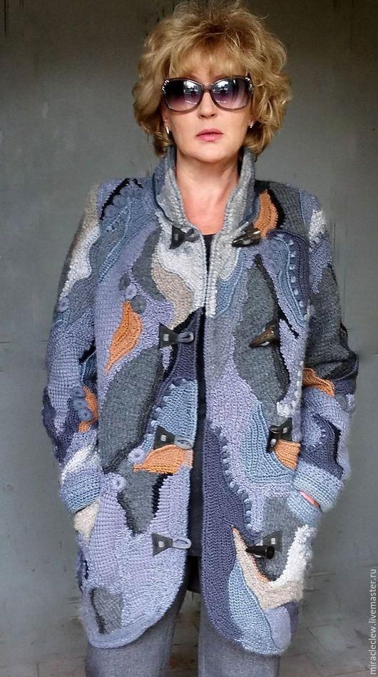 Верхняя одежда ручной работы. Ярмарка Мастеров - ручная работа. Купить Вязаное крючком пальто/кардиган в стиле фриформ, пэчворк, бохо. Handmade.