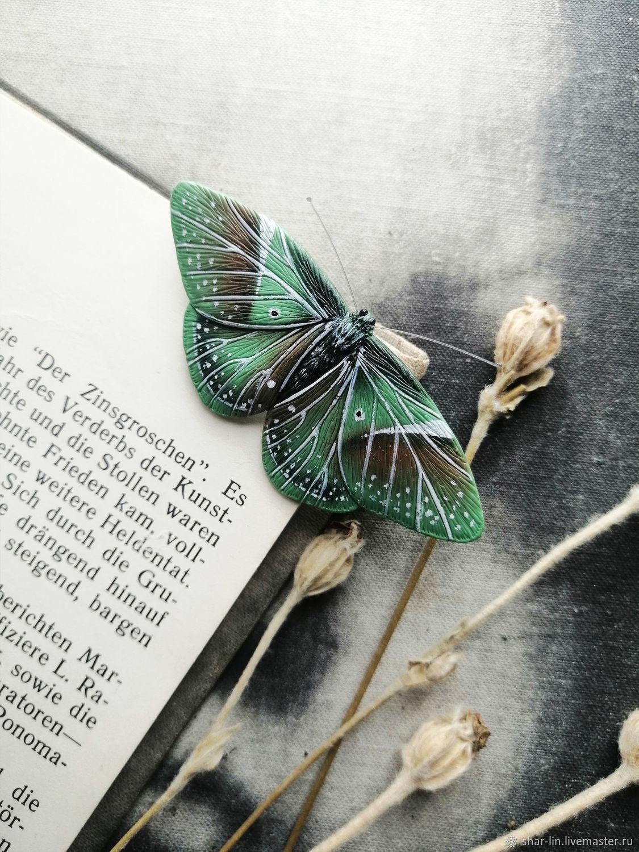 Лесной зеленый мотылек. Брошь-мотылек. В наличии 2 мотылька, Брошь-булавка, Сочи,  Фото №1