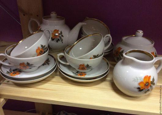 Винтажная посуда. Ярмарка Мастеров - ручная работа. Купить Чайный сервиз Дулево, 6 персон. Handmade. Чайный сервиз, ретро