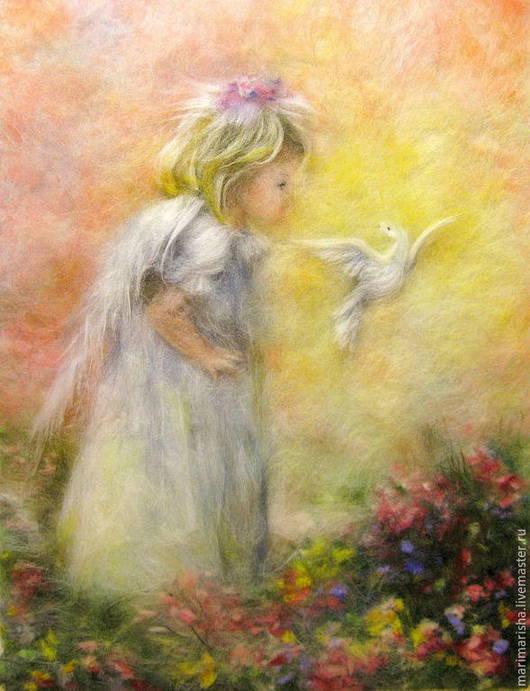 Люди, ручной работы. Ярмарка Мастеров - ручная работа. Купить Картина из шерсти Солнечный Ангел. Handmade. Лимонный, живопись шерстью