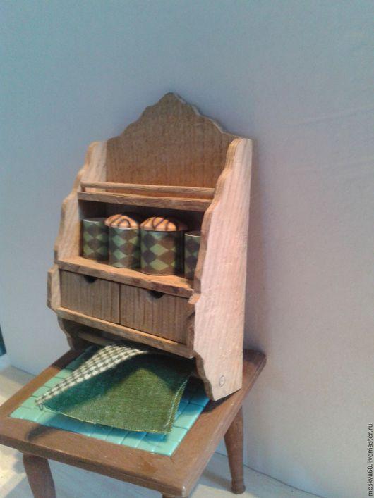 Кукольный дом ручной работы. Ярмарка Мастеров - ручная работа. Купить Полка навесная в кукольный дом. Handmade. Коричневый
