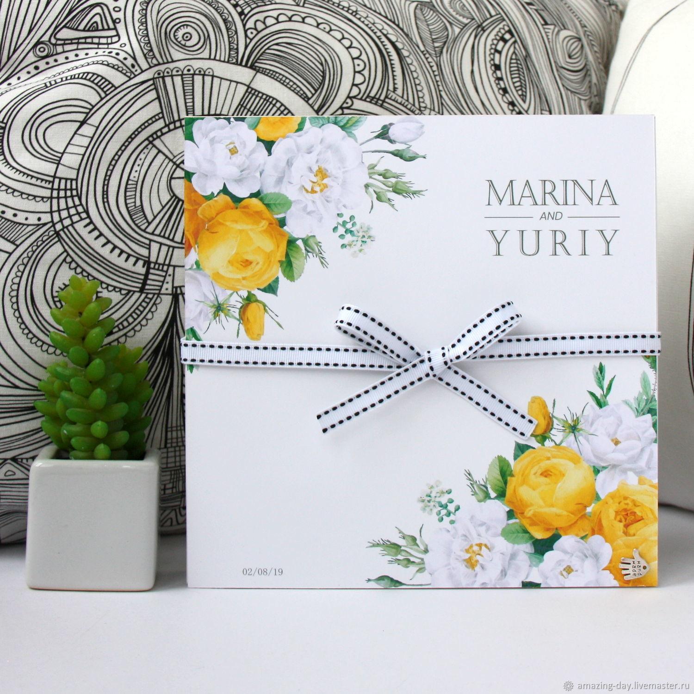 Коробочка для денег на свадьбу с жёлтыми розами, Подарки, Москва,  Фото №1