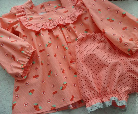 """Одежда для девочек, ручной работы. Ярмарка Мастеров - ручная работа. Купить Пижама для девочки (комплект из 3-х вещей) """"Мандариновое ретро-1"""". Handmade."""