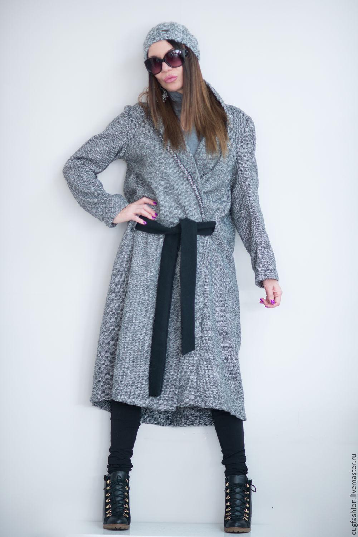 Cashmere coat, long coat, gray coat, warm coat, winter coat, coat with belt, this fashionable coat EUG
