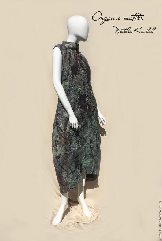 Платья ручной работы. Ярмарка Мастеров - ручная работа. Купить Платье в технике нуновойлок удлиненное. Handmade. Тёмно-зелёный, нунофелтинг