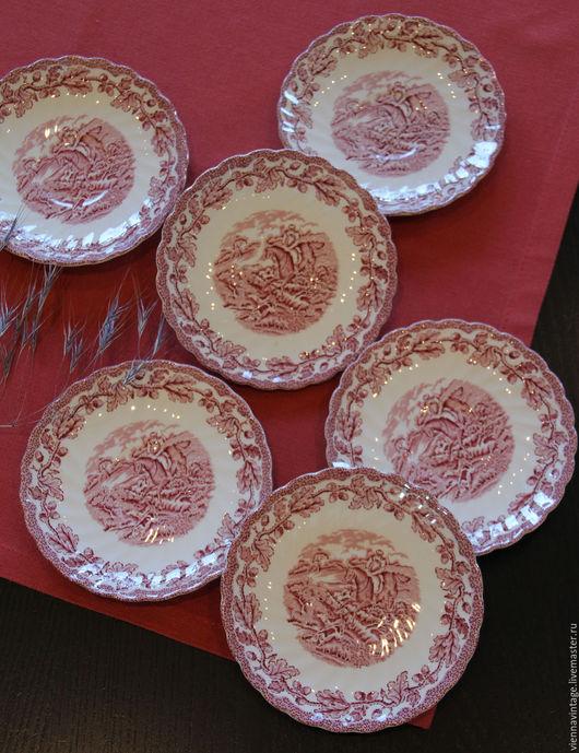 "Винтажная посуда. Ярмарка Мастеров - ручная работа. Купить Тарелочки ""Охота"". Handmade. Набор тарелок, винтаж, фарфор"