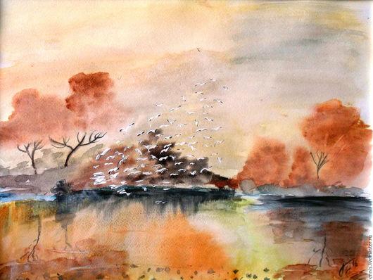 """Пейзаж ручной работы. Ярмарка Мастеров - ручная работа. Купить Акварель """"Осенняя стая"""". Handmade. Рыжий, акварельная живопись, озеро"""