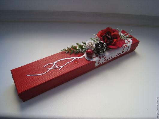 Подарочная упаковка ручной работы. Ярмарка Мастеров - ручная работа. Купить Подарочная упаковка для браслета или бус. Handmade. Бордовый