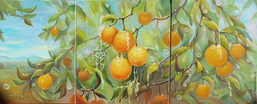 Пейзаж ручной работы. Ярмарка Мастеров - ручная работа. Купить Картина маслом триптих Апельсины 110х45. Handmade. Зеленый, свежесть