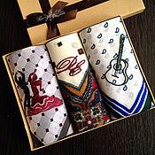 Аксессуары handmade. Livemaster - original item Set Handkerchief bow men`s Flamenco embroidered initials and pattern. Handmade.