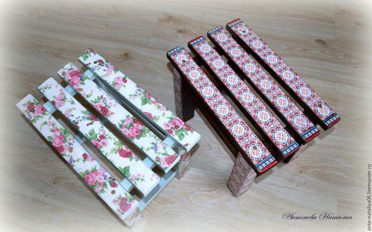 Мебель ручной работы. Ярмарка Мастеров - ручная работа. Купить Скамеечки. Handmade. Скамеечка, комбинированный, рисовая бумага с рисунком